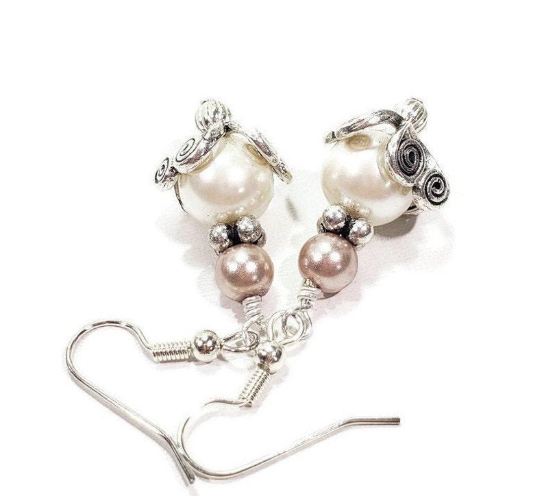 White and Rose Pearl Dangle Earrings