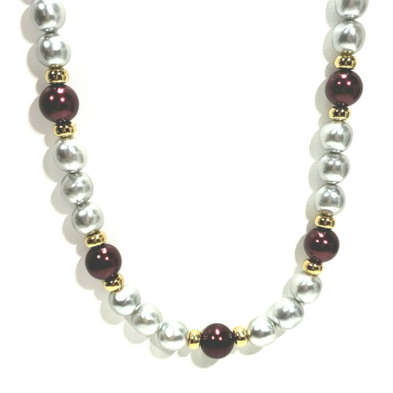 Vintage Napier Gray Burgundy Wine Pearl Necklace