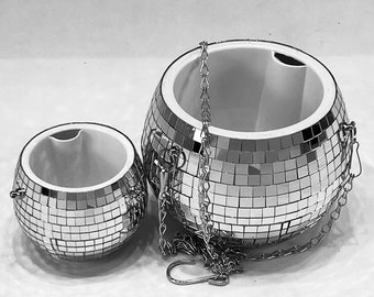 Hanging disco ball planter pot vase with drainage plant hanger
