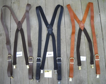 "Handmade USA Black/Brown/Tan LEATHER Clip on Suspenders Braces Men 1"" Inch Wide"