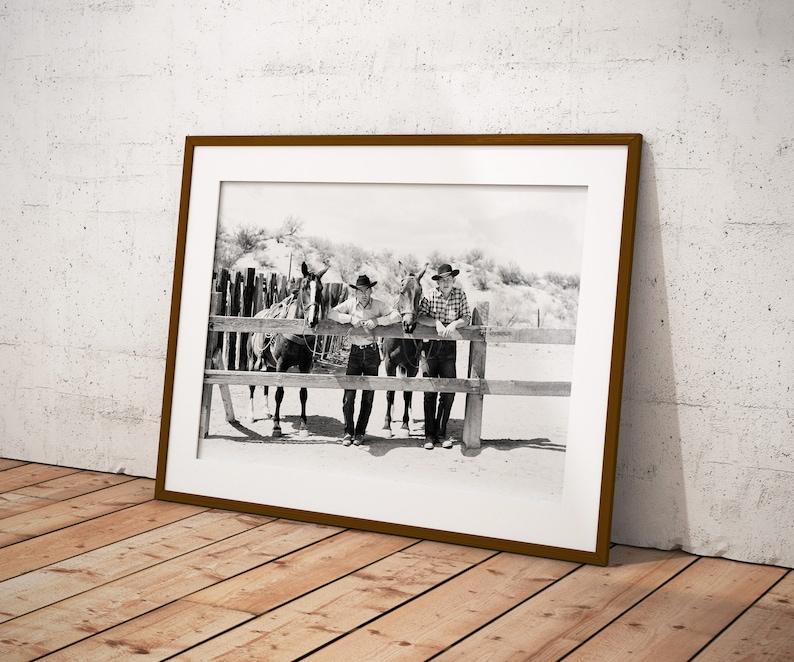 Vintage Arizona Cowboys and Horses at Corral Photo Print from image 0