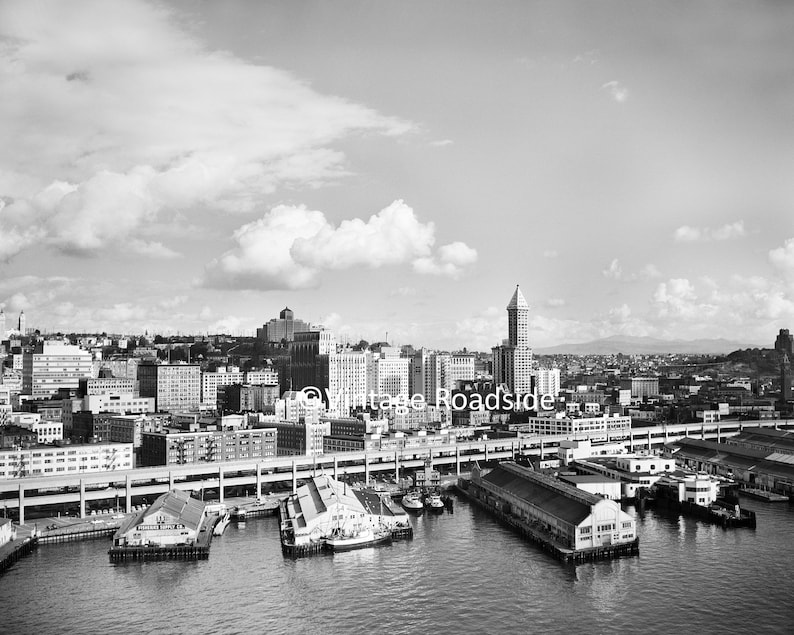 Alaskan Way Viaduct Vintage Seattle Central Waterfront Photo Port of Seattle Piers 52-55 BW Fine Art Print from original 1958 negative