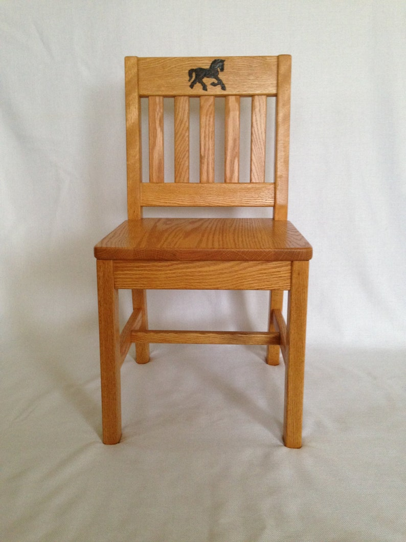 Prime Personalized Childrens Chair 14 Inch Honey Brown Oak Kids Chair Wood Burned Horse Quality Childrens Furniture Made To Order Unemploymentrelief Wooden Chair Designs For Living Room Unemploymentrelieforg