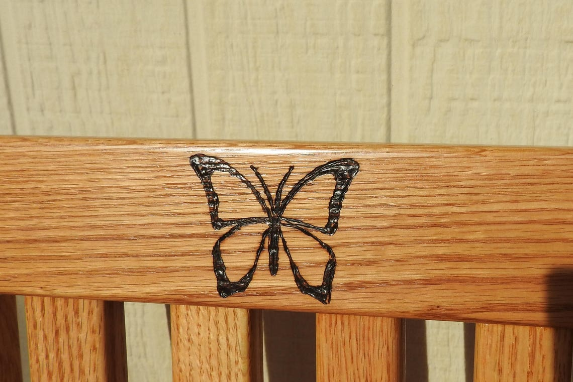 Personalized Children's Chair 12in Seat H - Honey Brown - Solid Wood Chair- Small Child Chair- Personalized Baby Gift- Woodburned Butterfly