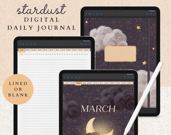 365 Daily Digital Journal with Hyperlinked Pages including a Notebook with 12 Sections, 8 Covers, and 13 PNG Template Stickers