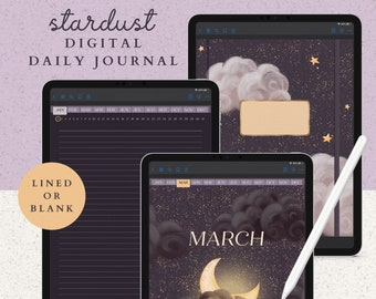 Daily Digital Journal with 365 Hyperlinked Dark Mode Pages including a Notebook with 12 Sections, 8 Covers, and 13 PNG Template Stickers