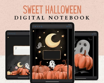 12 Subject Halloween Digital Notebook with Hyperlinked Tabs, 14 Note Page Designs, Extra Spooky Covers, Dark Mode & White pages