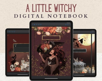 12 Subject Witchy Digital Notebook with Hyperlinked Tabs, 14 Note Page Designs, Dark Mode, Designed with black cats, cauldrons, and candles