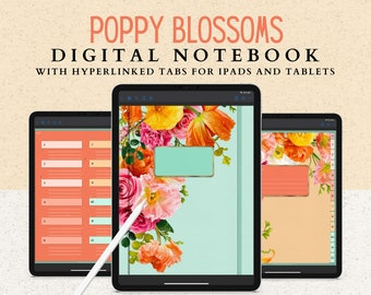 12 Subject Digital Notebook with Hyperlinked Tabs, 14 Note Page Templates, 6 Beautiful Floral Covers, Green Dark Mode