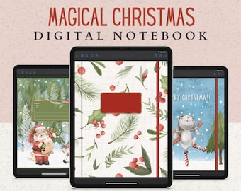 12 Subject Digital Notebook with Hyperlinked Tabs, 14 Note Page Designs, Christmas Notebook to Plan the Holidays, Dark Mode & White pages