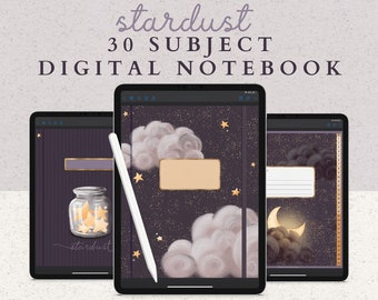30 Subject Digital Notebook with Hyperlinked Tabs, 14 Note Page Designs, Extra Moon and Stars Covers, Dark Mode & White pages