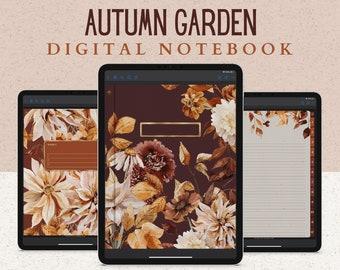12 Subject Digital Notebook, Hyperlinked Tabs, 14 Paper Templates, Autumn Flowers and Pumpkins, Dark Mode for Fall & Thanksgiving November