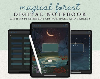12 Subject Digital Notebook with Hyperlinked Tabs, 14 Note Page Designs, Dark Mode, Night Forest Theme