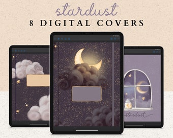 8 Digital Notebook Covers for Planners or Journals | Moon, Stars, and Night Sky Designs
