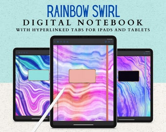 12 Subject Digital Notebook with Hyperlinked Tabs, 14 Page Templates, Dark Mode or White pages, 6 Digital Neon Rainbow Swirl covers