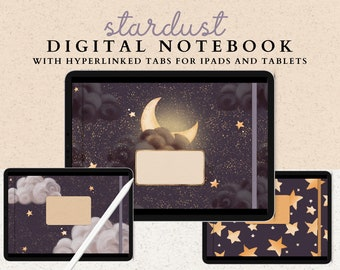 12 Subject Landscape Digital Notebook with Hyperlinked Tabs, 36 Sections, 14 Note Page Designs, Extra Moon & Stars Covers, Dark Mode Journal