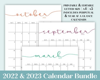 2022 2023 Calendar Bundle | Printable Editable Portrait Monthly Calendars, Perpetual Calendars, & Year at a Glance in A4 A5 Letter Size
