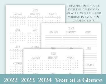 2022 2023 2024 Year at a Glance Minimalist Editable Printable Yearly Calendar | Simple Agenda includes sizes Letter Size  A4  A5