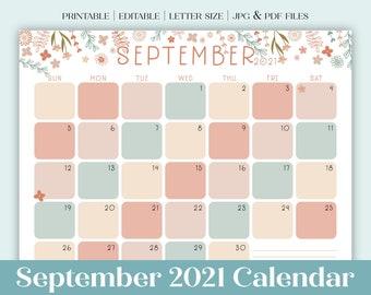 September 2021 Calendar Printable | Dated Calendar | Floral Calendar | Editable PDF | Planner or GoodNotes Insert | Letter Size Landscape