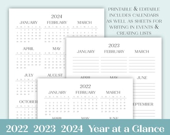 2022 2023 2024 Year at a Glance Editable Printable Yearly Agenda, Letter Size  A4  A5