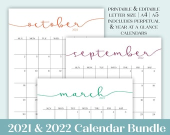 2021 2022 Calendar Bundle | Printable Editable Portrait Monthly Calendars, Perpetual Calendars, & Year at a Glance in A4 A5 Letter Size