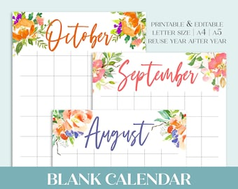 Editable + Printable Undated Monthly Calendar in sizes A4 A5 Letter Size | Sunday or Monday start | Watercolor Floral Calendar