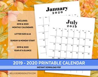 Stampabile Pdf Calendario 2020.Minimalist Calendar Etsy