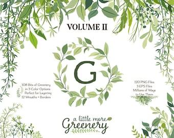 Leaf Clip art | Greenery Clipart | Vector Foliage | Leaf Wreath, Branch, and Botanical Graphics | Wedding Wreath Greenery
