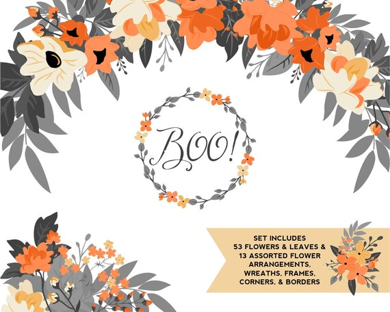 Halloween Orange Yellow And Black Floral Clipart Fall Etsy