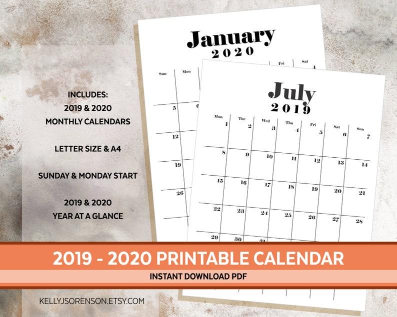 Calendar For September - December 2020 A4 Printable Calendar 2019 & 2020 Letter Size and A4 Desk   Etsy
