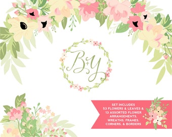 Pink & Yellow Flowers and Greenery ClipArt |  Wedding Wreath | Branches and Borders | Ballet Slipper Pink