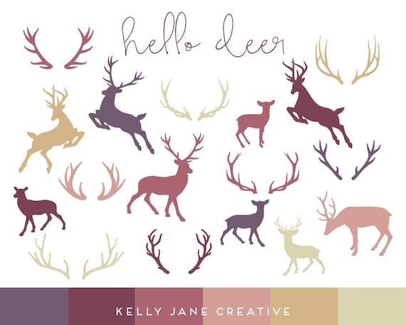 autumn deer antler silhouette clip art reindeer deer etsy