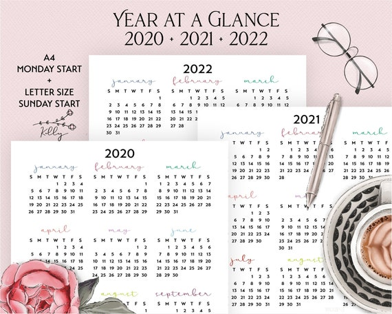Printable Year at a Glance 2020 2021 2022 Hand Lettering | Etsy