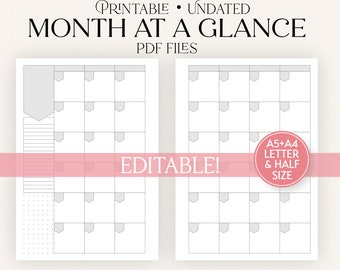 Editable Calendar Printable Planner Insert   Undated Month at a Glance   A5 A4 Letter Size and Half Sheet