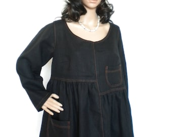 90b744e8457 plus size linen tunic long sleeves linen top boho linen tunic lagenlook  linen tunic top with pockets made to order
