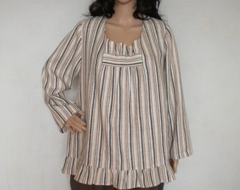 e38ad3ab385 plus size linen tunic top, ruffle linen shirt, loose linen blouse, long  sleeve baggy linen top tunic made to order