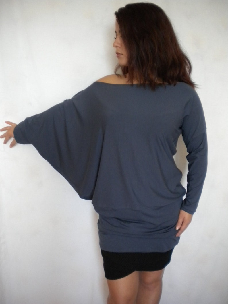 28c430fff1bfcb Plus size off shoulder sweater asymmetric batwing sleeve top