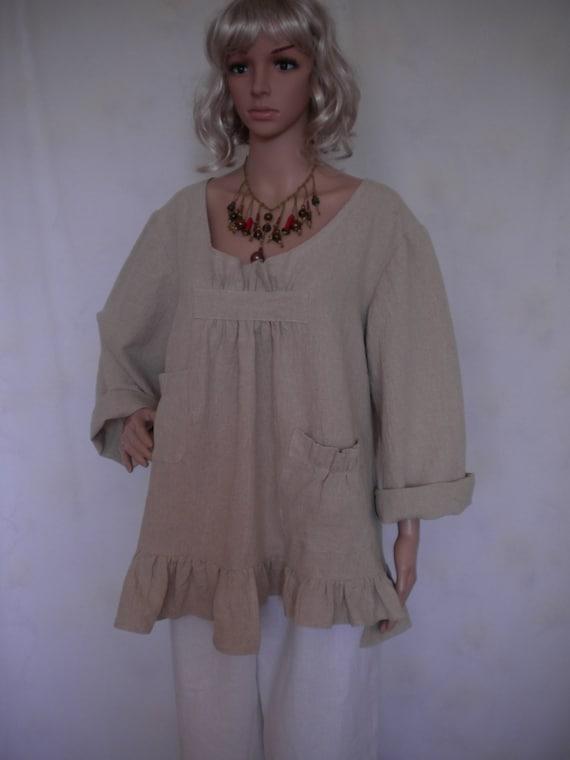 boho loose fitting  shirt top made to order linen jacket lagenlook linen shirt ruffle long sleeve pockets linen top