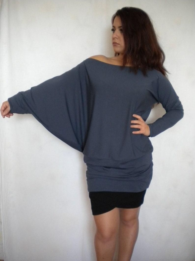 a84d63b1a54 Off shoulder top oversize sweater asymmetric plus size tunic