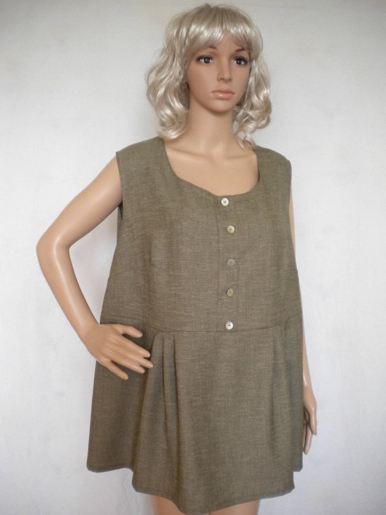 plus size linen tunic sleeveless linen top boho linen tunic loose fitting linen tunic top made to order