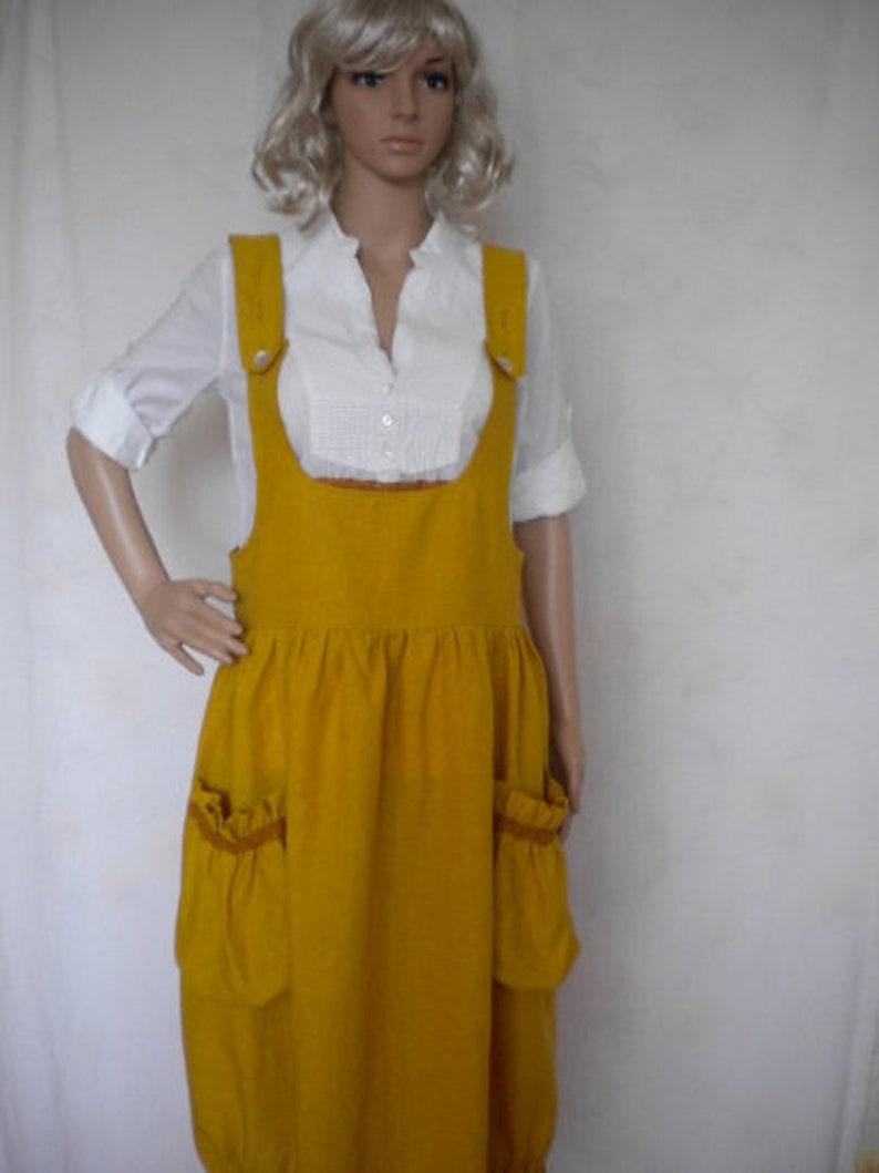 sack pockets gather elastic hem in mustard made to order boho lagenlook jumper loose fitting pinafore linen pinafore dress