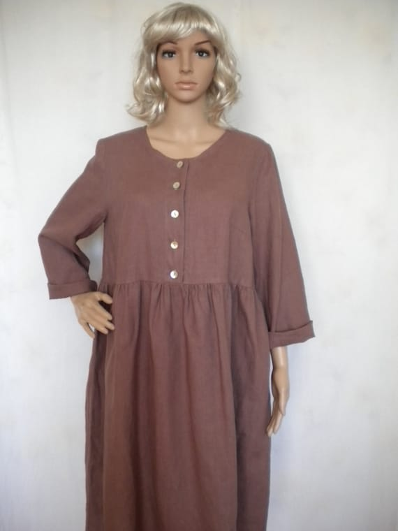 loose linen dress, long sleeve linen dress,plus size baby doll dress,  buttoned up linen dress, made to order