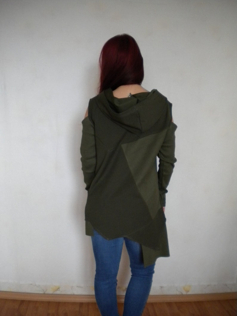 M-L cold shoulder long sleeve tunic top hooded sweater tunic dress asymmetric hooded cowl tunic top in moss green pixie asymmetric hippie