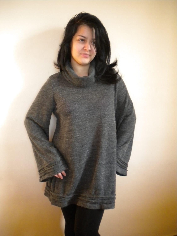 ce0c00ea3fcd38 Schildkröte Hals Tunika Winter-Minikleid warme Strick Mini | Etsy