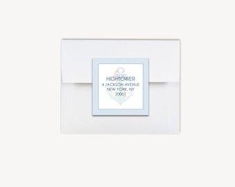 Return Address Labels Square, Pinstripe Anchor