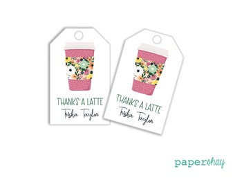 Personalized Fall Hang Tags or Monogram Gift Tags, Adult Calling Cards, Favor Tags, Latte