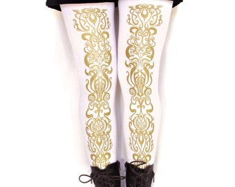 Embellished Tights, Gold White, Art Nouveau Pattern. All Sizes, Dolly Kei, Street Style Fashion