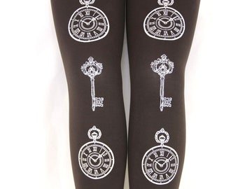 Clock & Key Tights, Steampunk Women's Fashion. Medium, Large, Tall Size, White on Brown Printed Pocket Watches. Lolita and Otome Kei Styles.