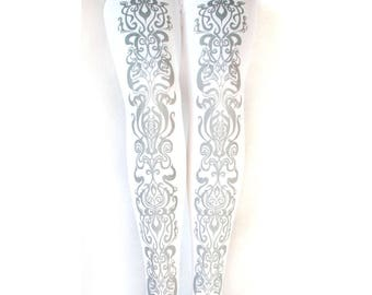 Art Nouveau Tights Silver on White Printed All Sizes Women Mucha Style Dolly Kei Lolita
