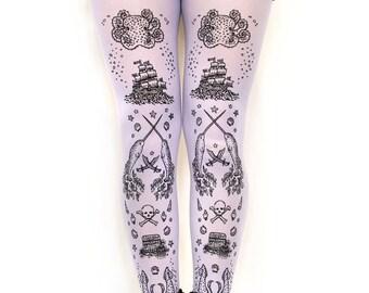 Plus Size Pastel Printed Tights, Black on Lilac. Narwhal Pirate Tattoo Print, XL, Light Purple. Sweet Lolita, Kawaii, Fairy Kei Fashion